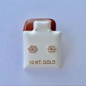 Real 10k Gold Earrings Baby Pink White Flower